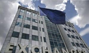 Greek shares slump nearly 6% on Athens market.