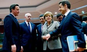 David Cameron, George Papandreou, Angela Merkel and Nicolas Sarkozy in Inside Europe.