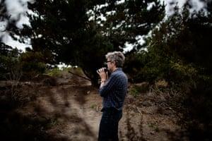 Author and birdwatcher Jonathan Franzen birdwatching in Santa Cruz, California, September 30th, 2018.