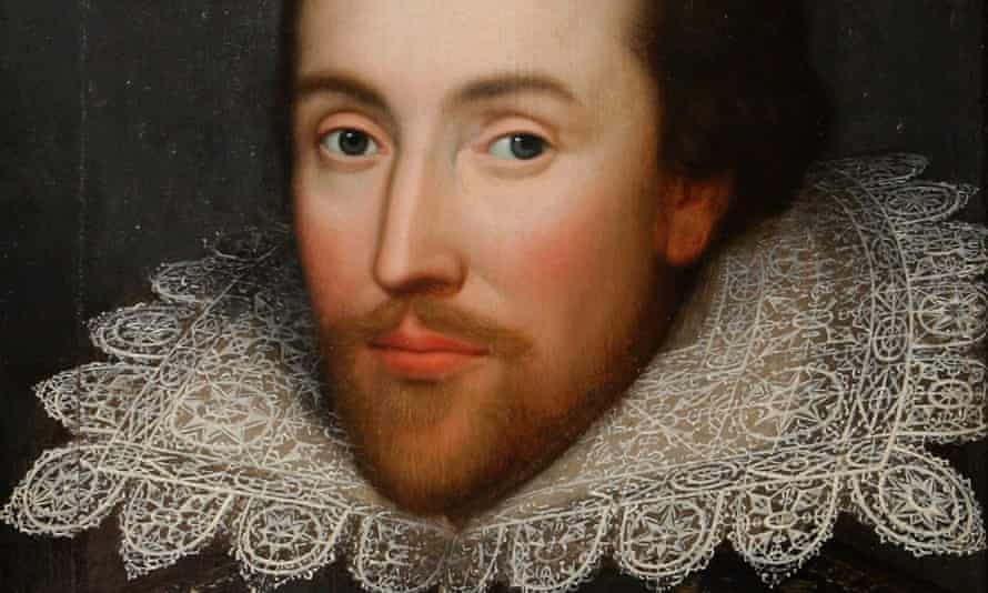 detail from a 1610 portrait of William Shakespeare.