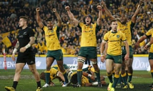 The Wallabies celebrate their Bledisloe Cup win over the All Blacks in Sydney on Saturday.