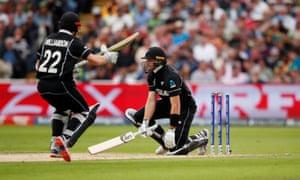 New Zealand's Martin Guptill hits his own wicket.