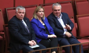 Rex Patrick, left, with Centre Alliance colleagues Rebekha Sharkie and Stirling Griff