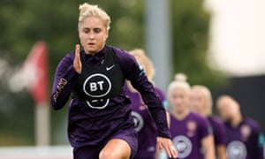 Steph Houghton leads her England teammates in a training drill at St George's Park this week.