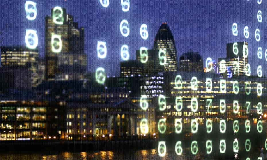 City of London office blocks and the Thames overlaid with binary code and glowing numbers.