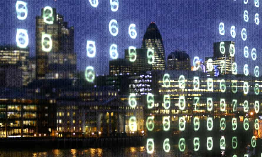 Night time City of London office blocks and the Thames overlaid with glowing numbers.