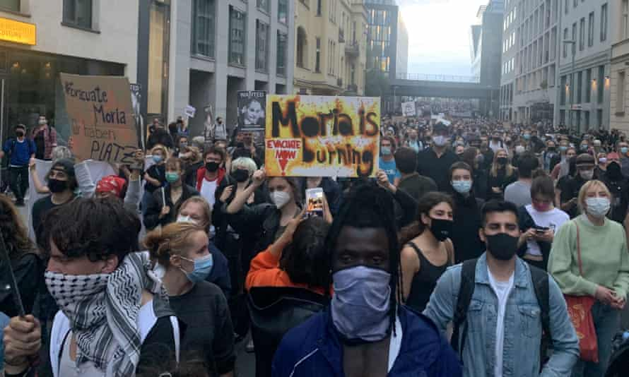 People in Berlin calling for the government to help the refugees in a rally on Wednesday.