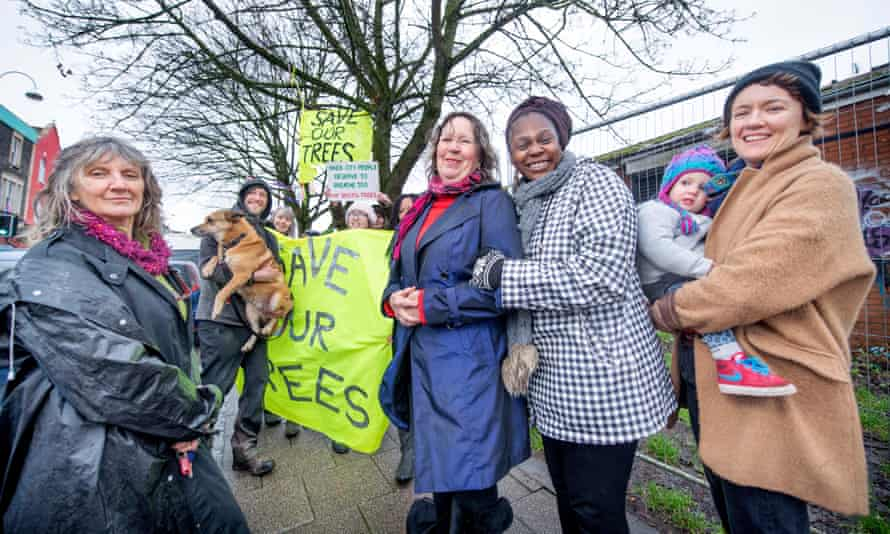 Protesters Amirah Cole, Anita Bennett, Rachel Lamp (with daughter Mimi) and Suzan Sadie maintain their vigil on Lower Ashley Road, Bristol