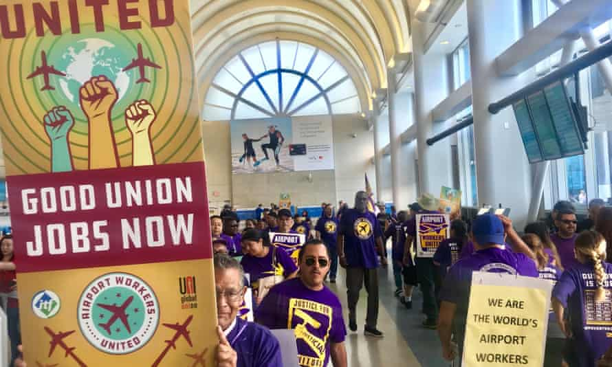An Airport Workers United/SEIU protest in New York City on 2 October 2018.