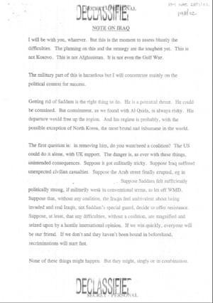 Blair's memo to George W Bush.