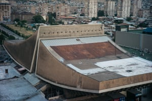 'Russia' Cinema Yerevan, ArmeniaBuilt 1975 Architects: A. Tarkhanyan, S. Khachikyan and others: The building is intended to resemble the two peaks of Mount Ararat. Originally containing two auditoriums seating 1,600 and 1,000, with a small hall accommodating 280, the complex also included exhibition areas, a dance floor and a café. The interior has since been destroyed, and today it serves as a trade pavilion.