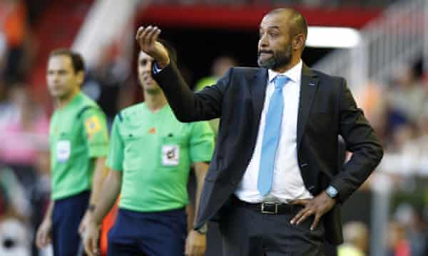 Nowhere to hide: Valencia's Portuguese coach Nuno at the side of the pitch in the match against Betis