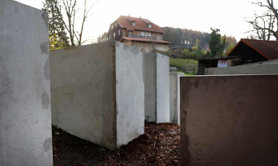 A version of Berlin's Holocaust Memorial built by a German political art group next to the home of Björn Höcke