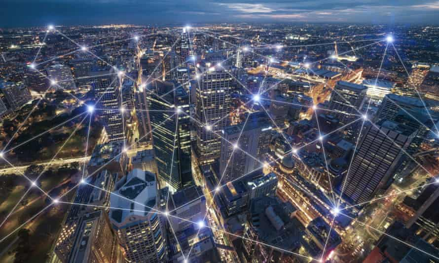 Smart city and connection lines. Internet concept of global business in Sydney, Australia.