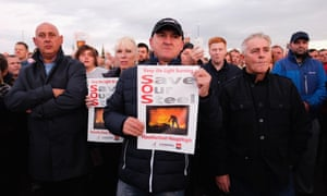 Protesters call for the Redcar steelworks to be kept open, at a rally last September.