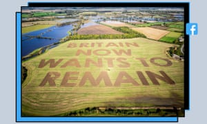 An image of a field in Wiltshire by the campaign group Led By Donkeys, a version of which appears in a post by the Facebook group Remain in the European Union - Exit from Brexit!