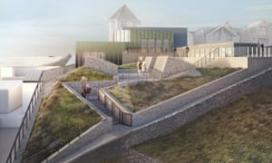 The new Tate St Ives. Impression of the public garden above the new gallery.