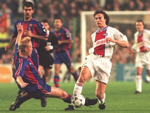 David Ginola in action for Paris Saint-Germain at Barcelona in 1995. An earlier Bosman ruling would have allowed him to move to the Camp Nou.