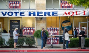 Voters lining up in Austin, Texas on Tuesday.
