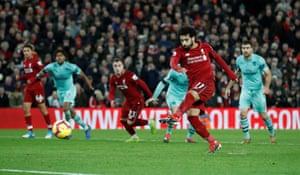 Mohamed Salah powers in the penalty.