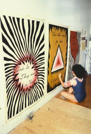 Judy Chicago designing the entry banners for The Dinner Party, 1978