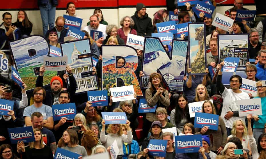 Bernie Sanders supporters at a campaign rally in Keene, New Hampshire on 9 February 2020.