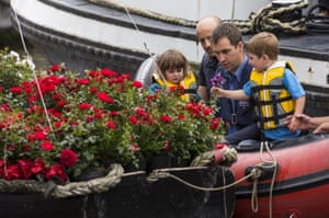 Brendan Cox and the couple's two children prepare to join a floating commemoration