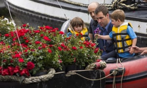Brendan Cox, husband of Jo, and their two children Cuillin, five, and Lejla, three, prepare to join a floating commemoration.