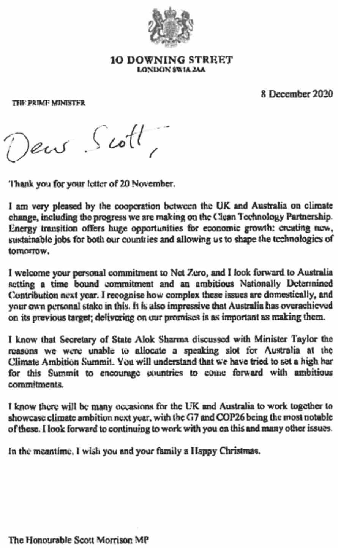 Letter from British prime minister Boris Johnson to Australian prime minister Scott Morrison