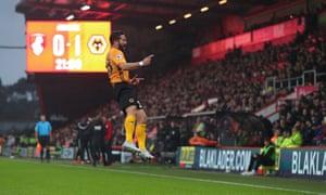 Joao Moutinho of Wolverhampton Wanderers celebrates after scoring a goal to make it 0-1 .