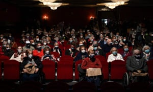 Residents of nursery homes for the elderly, who have already received a Covid-19 vaccine, attend a performance at the EDP Gran Via Theatre in Madrid on Wednesday.
