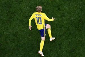 Sweden's midfielder Emil Forsberg celebrates after scoring the only goal and progress Sweden to the quarter final against England.
