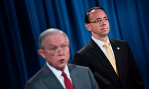 Rod Rosenstein with Jeff Sessions. At least one colleague to whom Rosenstein mentioned wearing a 'wire' to record Trump thought Rosenstein was speaking sarcastically, the Times reported.