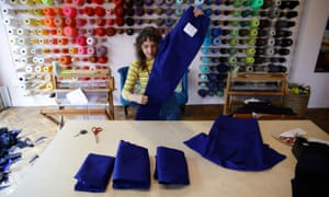 Brooke Dennis making scrubs for the NHS at her business Make Town in Hackney, London.