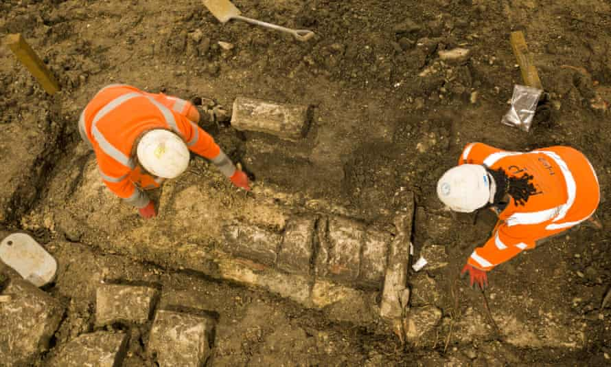 Archaeologists working on the site of St Mary's church in Stoke Mandeville, Buckinghamshire