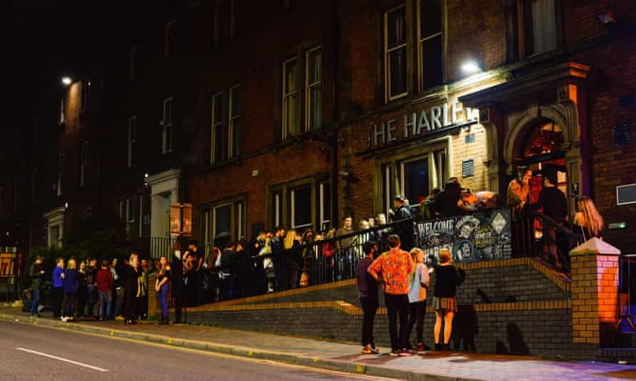 Fans queuing outside the Harley, Sheffield.