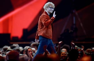 Ed Sheeran on stage at The BRIT Awards.