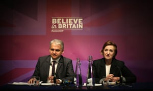 Patrick O'Flynn and Suzanne Evans at an election news conference