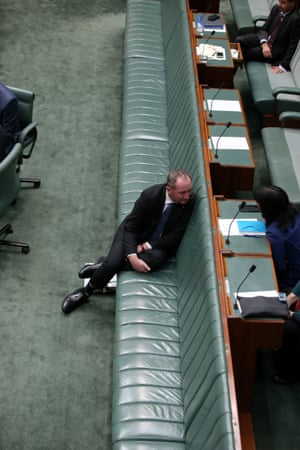 The deputy prime minister, Barnaby Joyce, sits alone on the frontbench before question time
