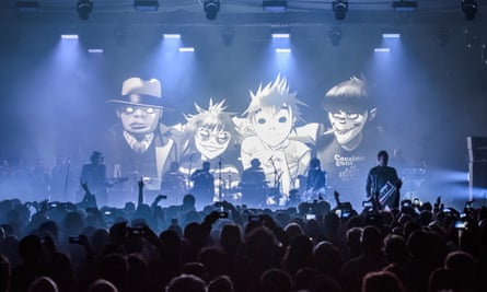 Gorillaz performing Humanz live for the first time at Printworks, London, in March 2017.