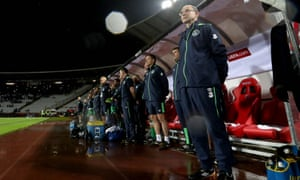 Ireland Manager Martin O'Neill by the touchline during the World Cup qualifier against Serbia.