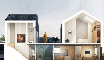 a cutaway view of the Carl Turner courtyard home for Cube Haus.