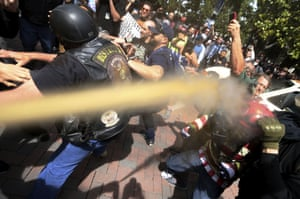 Pepper spray is used during competing protests in Berkeley, California, in April 2017.
