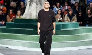Felipe Oliveira Baptista on the catwalk at the Lacoste show, Paris fashion week, February 2018.
