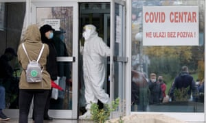 People wait for a medical examination, outside a Covid hospital, in Sarajevo, on November 5, 2020.