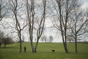 A visitor walks his dog on the grounds at Camp Nelson civil war park in Nicholasville, Kentucky, on 10 April 2018.