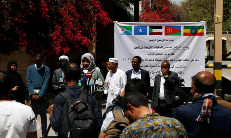 Members of Yemen's African communities stage a gathering outside the International Organization for Migration in Sana'a after the fire that killed Ethiopian migrants.