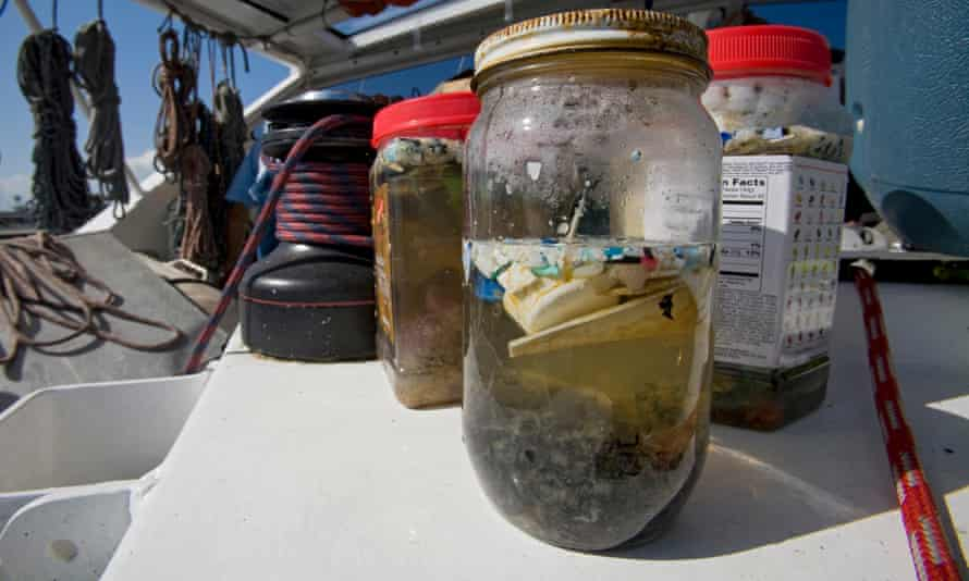 Scientists in Long Beach, California, studying the effects of oceanic microplastic pollution on the ecosystem.
