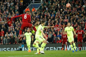 That dejection would be turned to incredulity just two minutes later when Liverpool got back on level terms in the tie, courtesy of a second goal by Wijnaldum, a superb header into the top left-hand corner, as he rose unopposed to nod past Ter Stegen after James Milner had floated in a cross