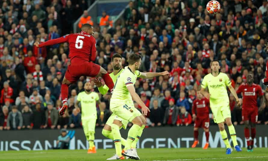 Georginio Wijnaldum scores Liverpool's third goal during the Champions League semi-final second leg against Barcelona in May 2019.